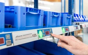 Pick by light system from KBS for warehouse order picking