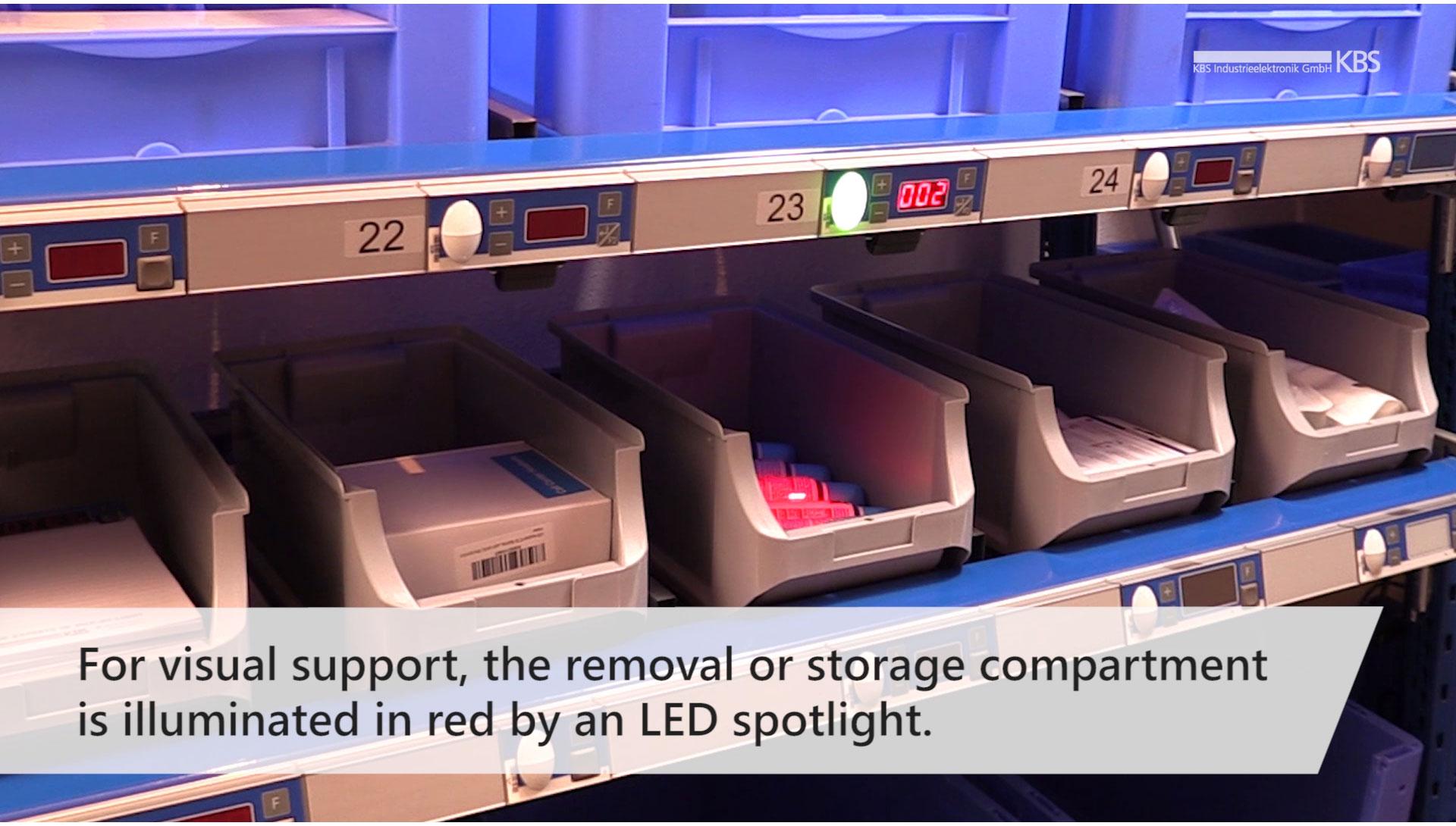 video image led pointer illuminates storage compartment