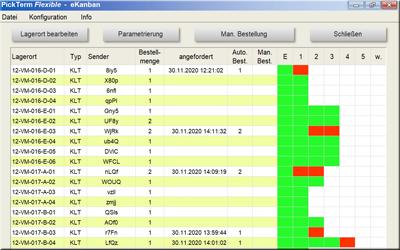 screenshot of an e-Kanban real-time display
